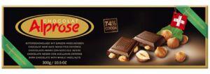 Hořká čokoláda 74% s celými lískovými oříšky [Alprose,300g]