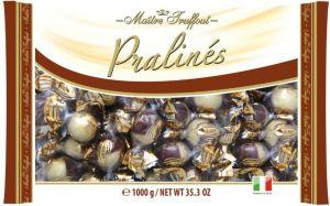 Čokoládové pralinky z mléčné a bílé čokolády s krémovou lískoořechovou náplní [M.T.,1000g]