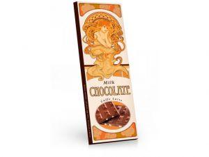 Mléčná čokoláda (Mucha) s příchutí caffe latte, sušenkami a kávou[Sweet&Snack, 225g]